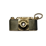 1960's Composition Leather & Gold Plated Stanhope Camera Charm Pendant