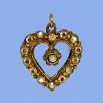Gold Aurora Borealis Rhinestone Heart Pendant with Lord's Prayer Peep