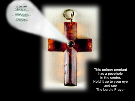 Baltic amber cross pendant with choice of prayer in peep mozeypictures Gallery