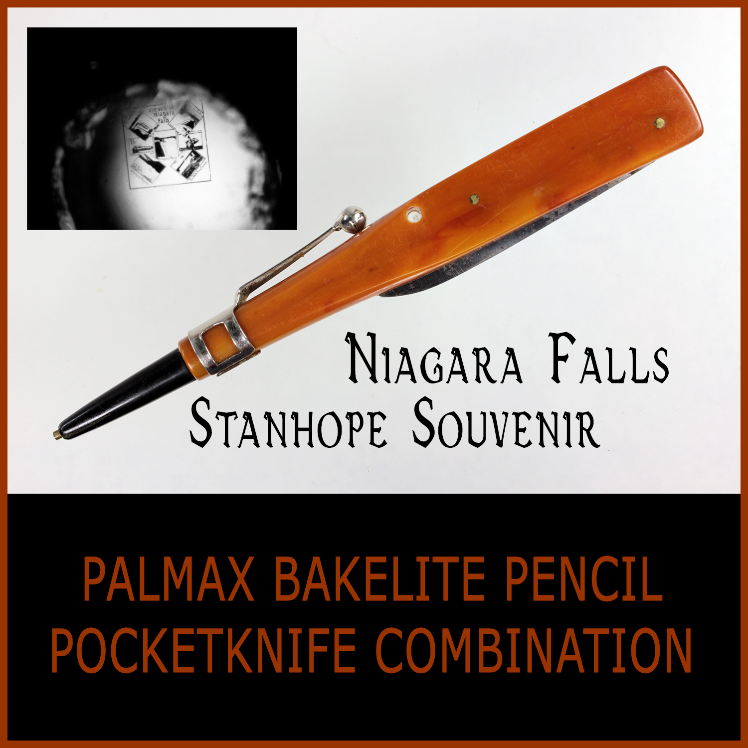 Antique Niagara Falls Stanhope Pencil Pocketknife Souvenir