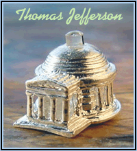 Jefferson Memorial Sterling Silver Stanhope Charm