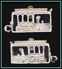 Cable Car Vintage San Francisco Stanhope Charm with Movable Driver and Wheels