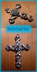Light Blue Rhinestone Lord's Prayer Vintage 1960's  Stanhope Cross Pendant