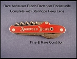 Red Linoleum Anheuser Busch Corkscrew Advertising Pocketknife