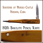 Antique Pencil Pocketknife Souvenir of Morro Castle Habana with Nude Stanhope