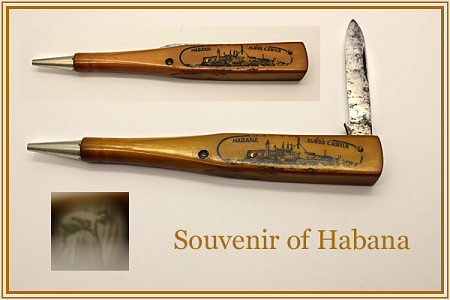 Antique Pencil Pocketknife Souvenir of Habana with Nude Stanhope Image