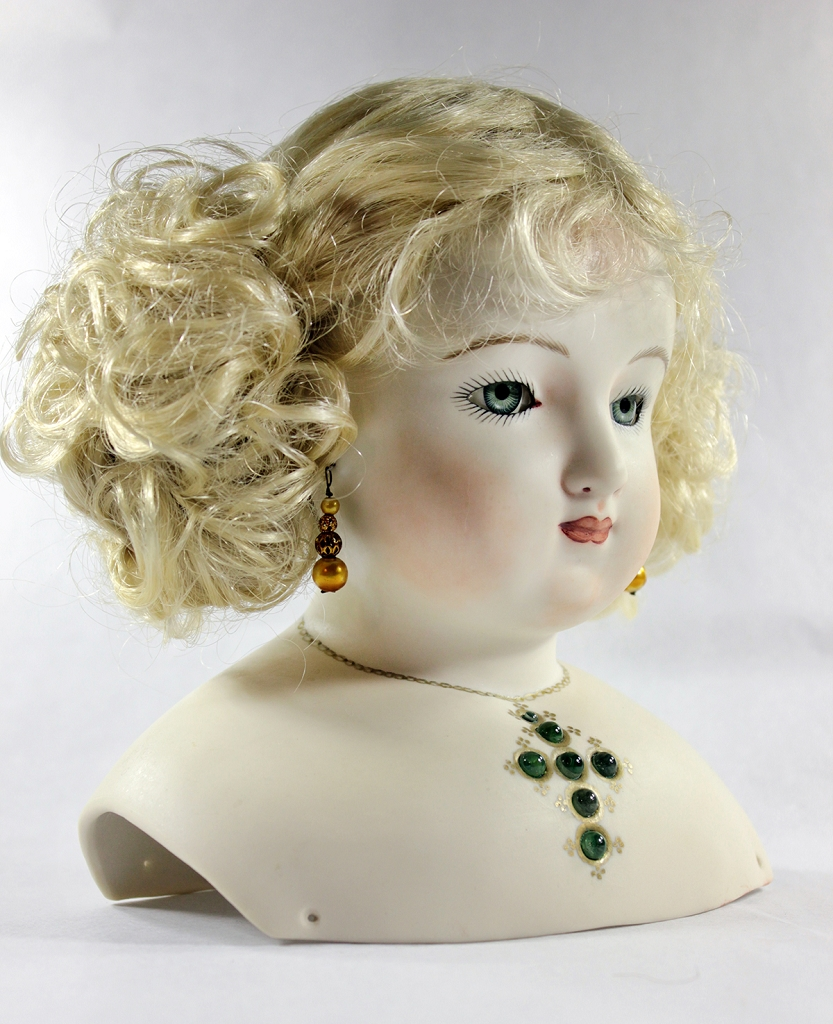 Doll with Green Rochard Stanhope Jewel Necklace