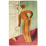 Rare Stanhope Postcard Bellhop Spying through Keyhole