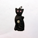 Victorian Carved Black Bog Oak 'Kitty Cat' Stanhope Charm Pendant Antique Souvenir