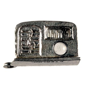Antique 1930-40's Sterling Radio Charm with Stanhope Lens