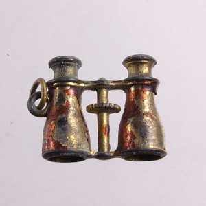 Gold Ormolu French Red Cloisonne Antique Stanhope Binocular Charm Fob Pendant Miniature