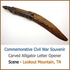 carved wood alligator civil war souvenir lookout mountain tennessee