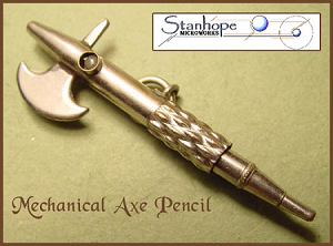 Victorian Era Propelling Stanhope Mechanical Axe Pencil Fob Pendant