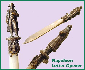 Napoleon Stanhope Letter Opener - Mother of Pearl & Bronze