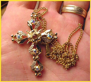 Iridescent Rhinestone Golden Stanhope Cross Necklace