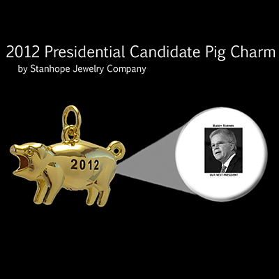 2012 Presidential Candidate Buddy Roemer Stanhope Political Pig Fob
