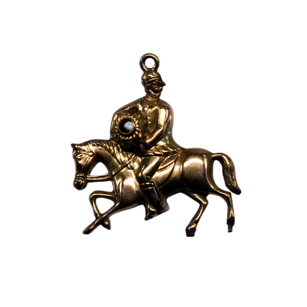 19th Century Gold Gilt Stanhope Knight on a Horse Fob Pendant