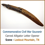 Carved Wood Alligator Civil War Souvenir Lookout Mountain Tennessee Souvenir Letter Opener