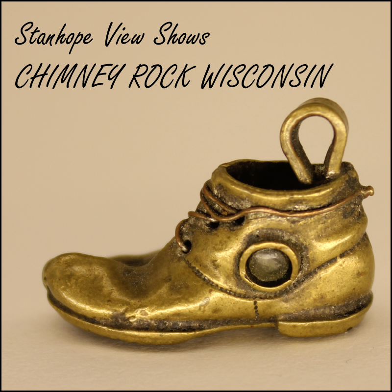 Antique Brass Boot Shoe With Chimney Rock Wisconsin Stanhope