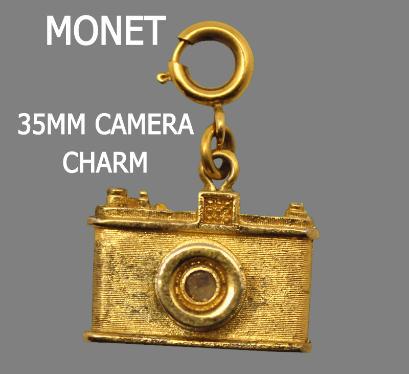 1960's Monet Gold Plated 35mm Film Camera Charm Stanhope Charm