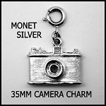 1960's Monet Sterling Silver 35mm Film Camera Charm Stanhope Charm
