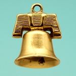 Gold Philadelphia Liberty Bell Charm with Stanhope Peephole View