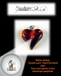 Baltic Amber Heart Pendant with Custom Stanhope Photo