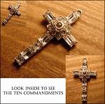 Clear Rhinestone 10 Commandments Stanhope Cross Pendant