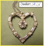 Rhinestone Heart Stanhope Pendant with Necklace