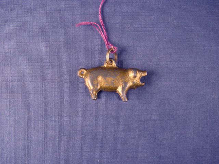 Early Antique Gold Pot Metal Pig Charm Fob