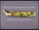 Green Celluloid Figural Leg Knife with Metal Boot and Stanhope
