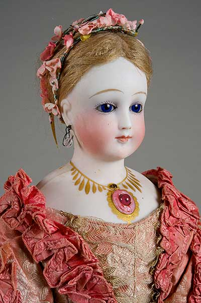 Rare Antoine Rochard Porcelain Bisque Jeweled Stanhope Doll