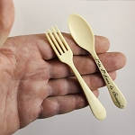 Carved Bone Souvenir Stanhope Fork & Spoon Set