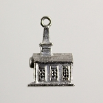 Vintage 1950's-60's Sterling Silver Church Charm Pendant by Wells