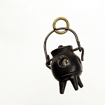 Antique Victorian Carved Bog Oak Boiling Cauldron Kettle Stanhope Souvenir Charm Pendant