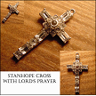 Clear Rhinestone Octagonal Lord's Prayer Stanhope Cross