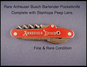 Red Silver Anheuser Busch Stanhope Knife